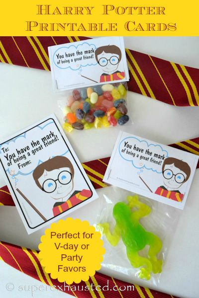 Harry Potter printables - great for birthday, Valentines or Christmas stocking stuffers!