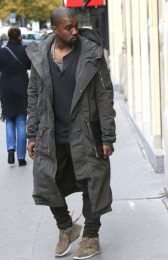 Kanye West Wears Rick Owens DRKSHDW Zip Hooded Long Parka Coat in