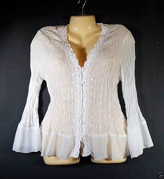 White Crinkle Ruffles Blouse XL Lace Embroiderey Buttons Allison Taylor Size #AllisonTaylor #Blouse #Casual