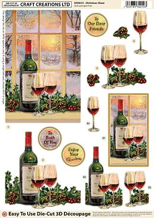 Craft Creations A4 die cut decoupage - Christmas Cheer, wine