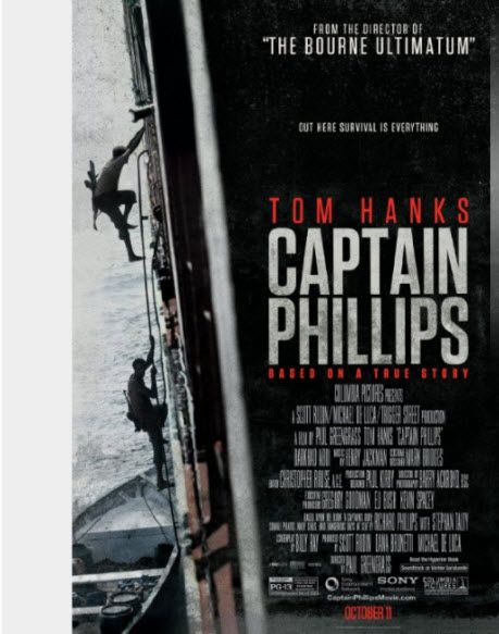 Captain Phillips. Nominated for 6 Oscars including Best Picture, Supporting Actor, Adapted Screenplay, Film Editing, Sound Editing and Sound Mixing