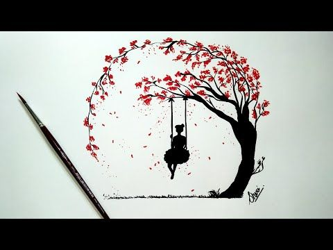 Drawing Of A Love Tree And The Girl Swinging Love Drawing Of Girl And Tree Of Love Youtube Circle Painting Circle Drawing Girl Drawing