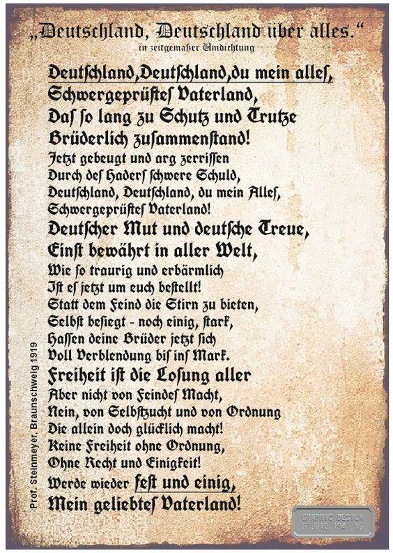 Deutschland, Deutschland über alles in zeitgemäßer Umdichtung  von Prof. Steinmeyer, Brauschweig 1919 http://www.deutsche-schutzgebiete.de/deutschlandlied.htm
