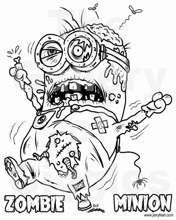 Disney Zombies Coloring Pages Beautiful Zombie Minion Printable Colouring Page By Galleryofgiggl Halloween Coloring Pages Coloring Pages Cartoon Coloring Pages