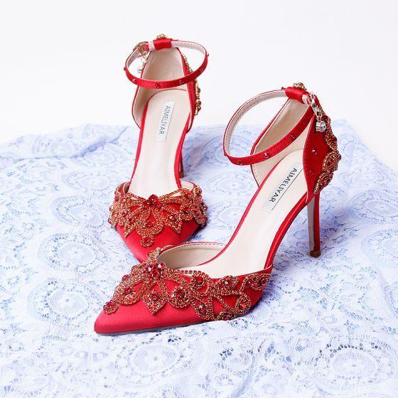 Chinski Styl Czerwone Rhinestone Buty Slubne 2020 Satyna Z Paskiem 9 Cm Szpilki Szpiczaste Slub Na Obcasie Stiletto Heels Rhinestone Wedding Shoes Rhinestone Heels