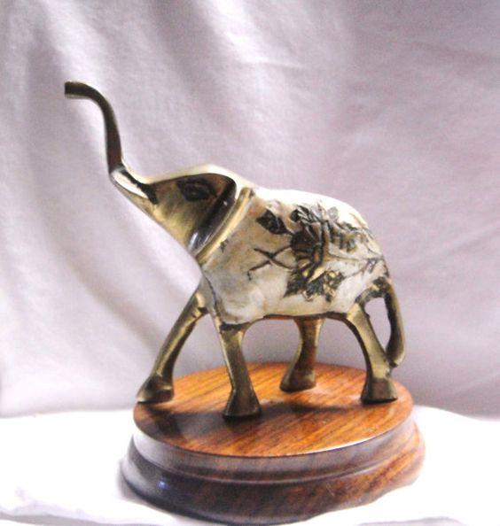 "Vintage Brass Elephant on Wood Stand  5"" x  4"""
