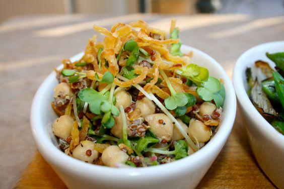 Vegan :: Chickpea & Red Quinoa Salad w/ Radish Sprouts, Celery, Lemon ...