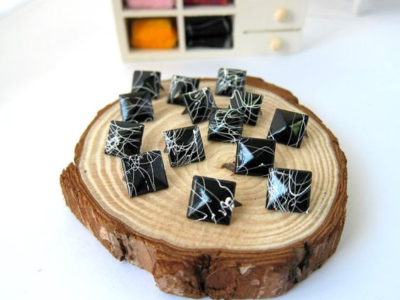50pcs 12MM Black with White Color Splash Pyramid Studs by eSupply, $1.99