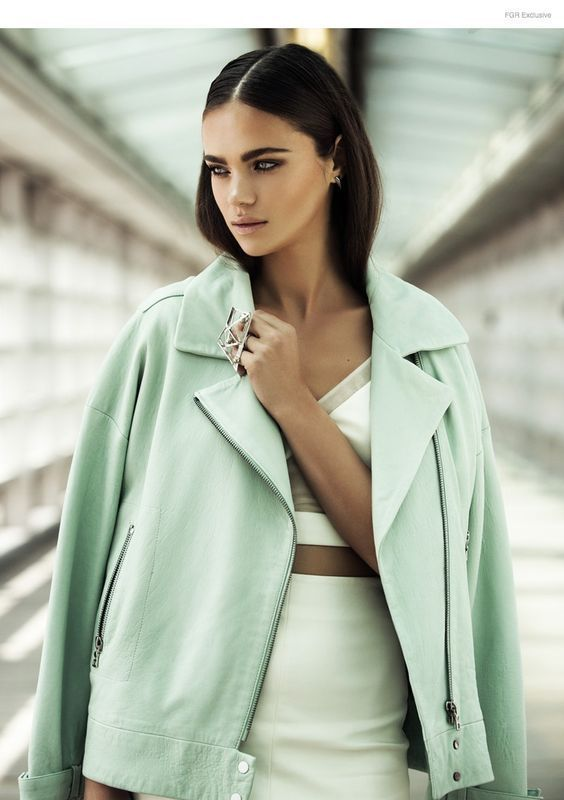 Mint green jacket to match your light green dress to match your beautiful green eyes. Too much green? Never. This outfit inspiration is enough to make us want to go out and buy a pastel colored leather jacket to match our eyes. Find more style inspiration on the Couture Lane Fashion App #styleinspiration #outfitideas #summerstyle #trending