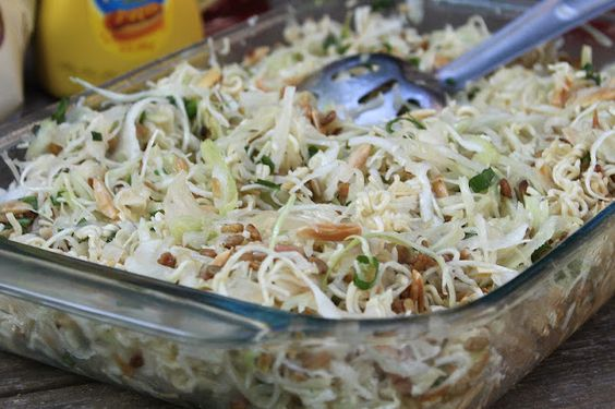 Crunchy Ramen Noodle Slaw- if this is ANYTHING like my mother-in-law's this is the best stuff EVER!