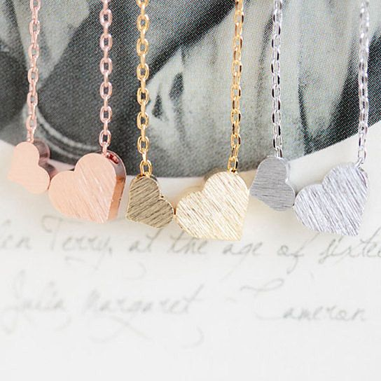 Love these sweet and delicate heart necklaces