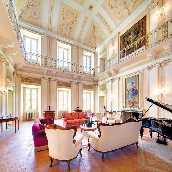 This neoclassical villa was built in the 1700s by Swiss architect Felice Soave and decorated by Giocondo Albertolli, who also did Florence's Uffizi Gallery. The nine-suite property features a public room with frescoes and carved marble accents and gardens complete with a heated swimming pool.