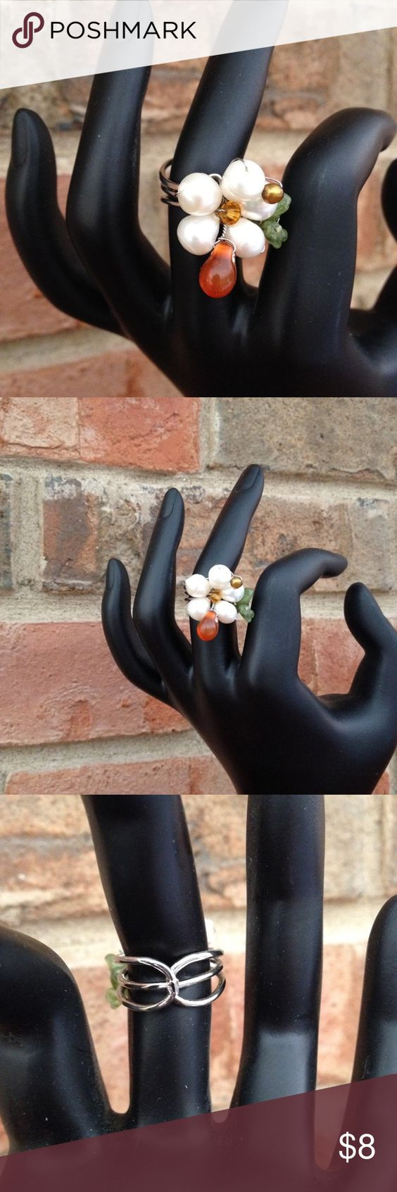 Floral Pearl Beaded Ring Adjustable.  Like new condition - worn one time. Pier One Jewelry Rings