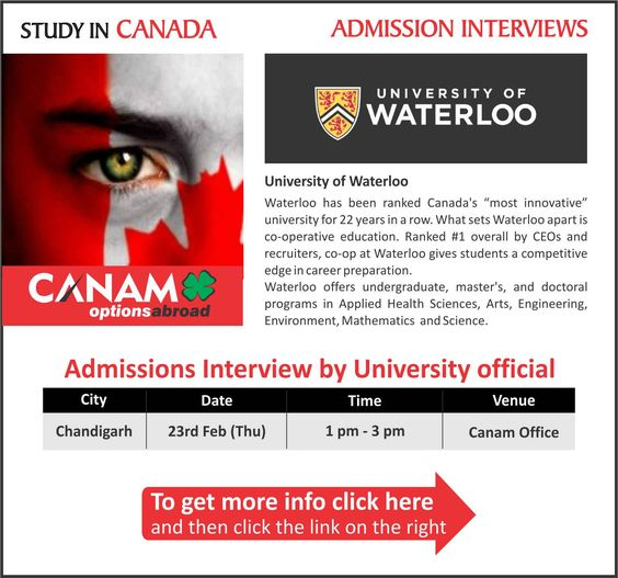 Study in #Canada - University of Waterloo. For complete information & enrolment, Register Today!  #StudyAbroad #StudyCanada #StudentVisa #StudyVisa #StudentVisaExpert #CanamConsultants