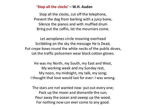 Stop All The Clocks WH Auden Recited In Movie Four Weddings And A Funeral