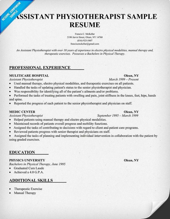 Resume Sample Assistant Physiotherapist Resume (  - physical therapist sample resume