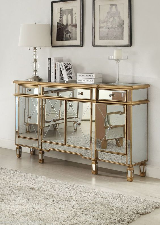 Hollywood regency mirrored console cabinet dresser table for Bedroom wall cabinet with mirror