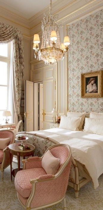 Ritz Paris suite with #romanticdecor #crystalchandelier #RitzParis