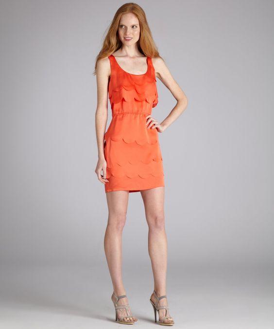 Ali Ro lobster red sleeveless scalloped dress
