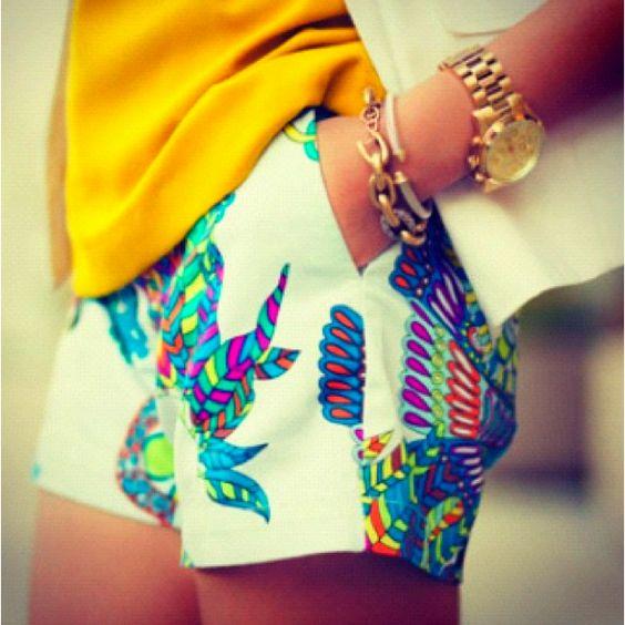 bright printed shorts: Bright Short, Print Shorts, Bright Color, Spring Summer, Printed Shorts, Patterned Shorts, Summer Shorts, Colorful Shorts