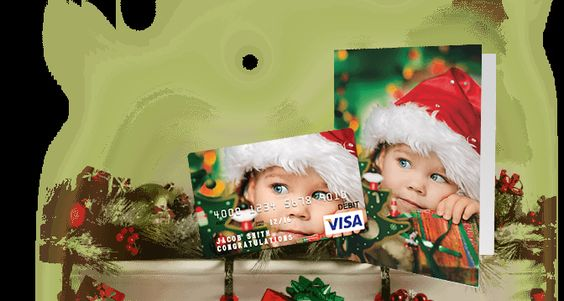 Custom Visa and Mastercard gift cards with matching greeting card!