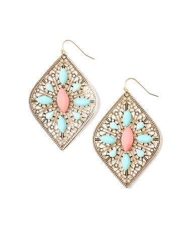 Gold & Peach Filigree Diamond Drop Earrings by Khloe Collection #zulily #zulilyfinds