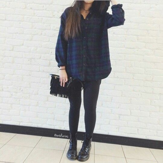 Ootd | everyday look for college Oversized flannel/check shirt