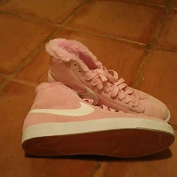 Pink wool lined NIKE Brand new nexer worn, pink on pink lined nike.  NWOT.  Special design. These fit a woman Size 9.. Nike Shoes
