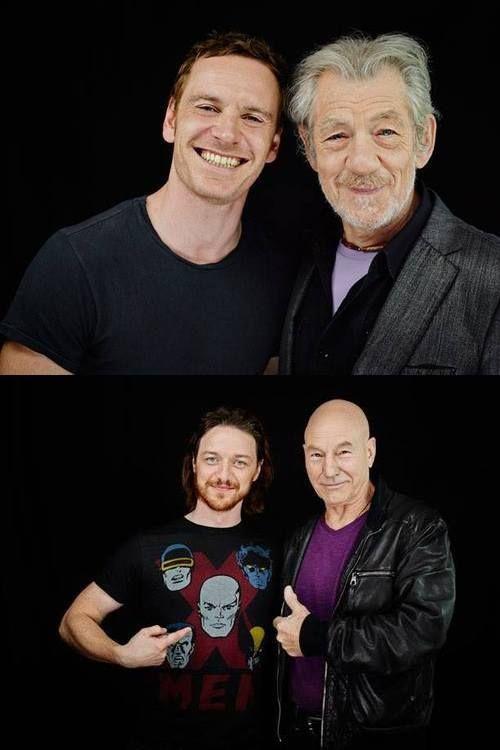 Michael Fassbender & Ian McKellen and James McAvoy & Patrick Stewart. I love how happy Michael looks