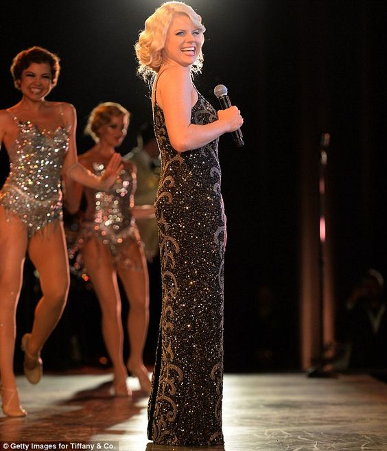 Putting on the glitz: Broadway star and Smash actress Megan Hilty performed onstage for the Rockefeller crowd