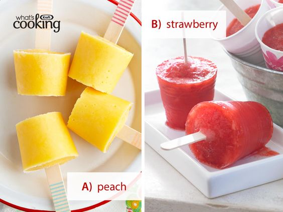 would you try? Peach Yogurt Pops or Triple Strawberry No-Drip Pops