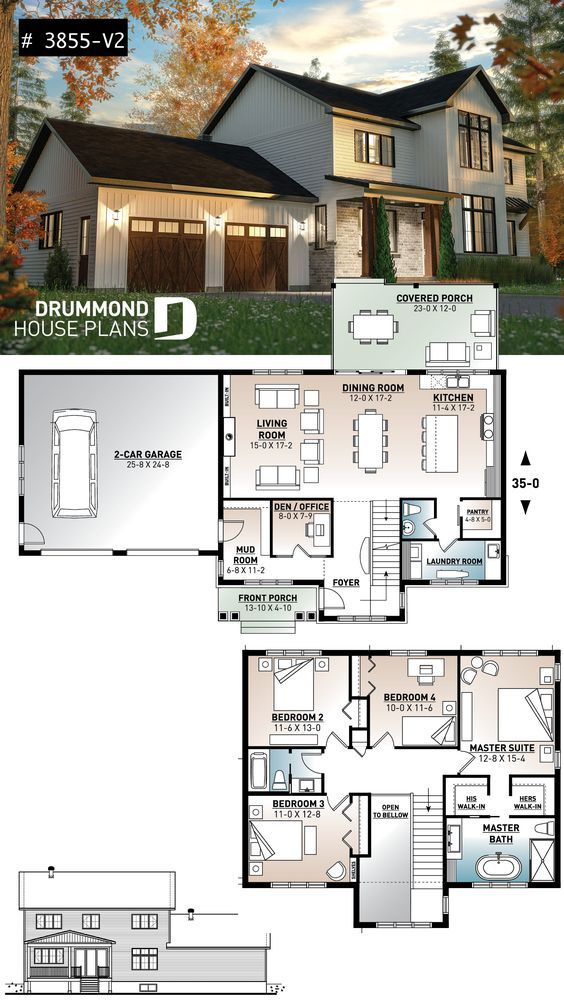 Discover The Plan 3855 V2 Nikolas 3 Which Will Please You For Its 4 Bedrooms And For Its Farmhouse Styles Sims House Plans 4 Bedroom House Plans Farmhouse Plans
