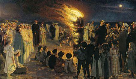 Midsummer's Eve Bonfire on Skagen's Beach (1906) by PS Krøyer. (via http://www.johncoulthart.com/feuilleton)