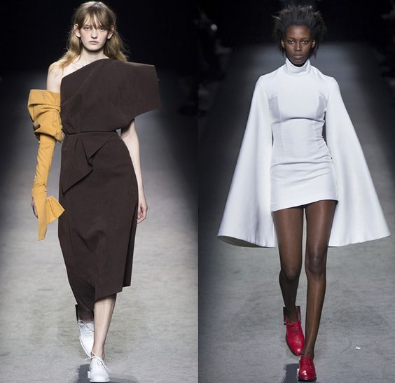 Jacquemus 2016-2017 Fall Autumn Winter Womens Runway Catwalk Collection Looks - Paris Fashion Week Mode à Paris France - Boxy Frankenstein Floating Hanging Shoulders Circle Dots Pinstripe Vest Chunky Knit Sweater Turtleneck Cinch Waist Plaid Wrap Asymmetrical Hem Outerwear Coat Deconstructed Wide Leg Trousers Palazzo Pants Crop Top Midriff Metallic Arm Warmers Ruffles Frayed Velvet Bell Sleeves Bow Ribbon Pantsuit