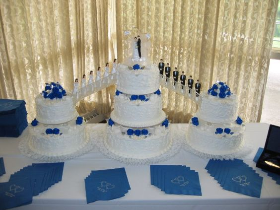 Above Is A Royal Blue Wedding Cake With Fountains And Bridges. Photo