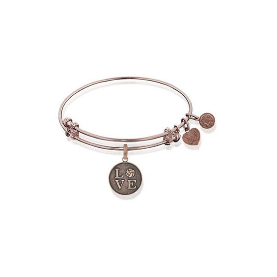 Angelica Rose Gold-Tone Volleyball Love Expandable Bangle ($25) ❤ liked on Polyvore featuring jewelry, bracelets, heart charm, expandable bangles, heart bangle bracelet, bracelets bangle and bangle charm bracelet