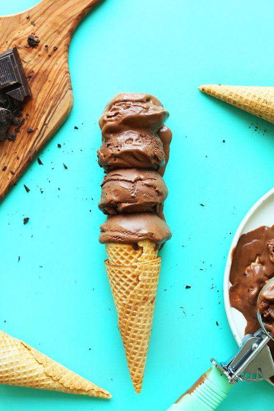 vegan chocolate ice cream with cocoa powder, vegan dark chocolate ...