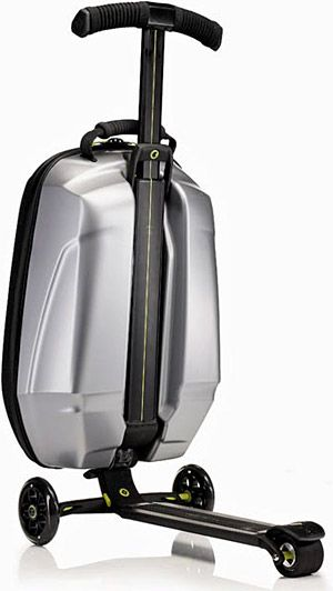 Micro scooter attached to cabin size luggage to zip between terminals at airport - now here's a way to make travel fun!