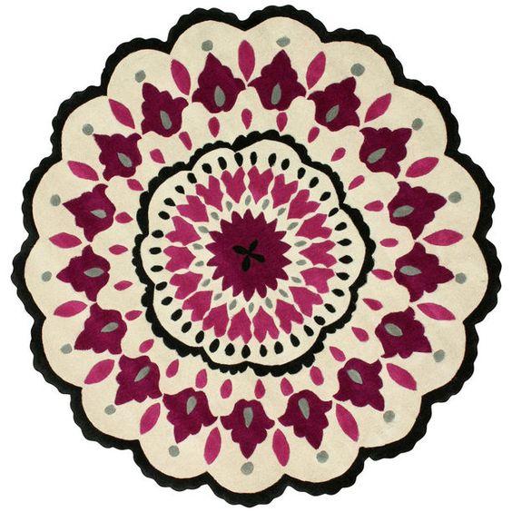 Sketched Suzani 8' Round Pink purple, white, pink