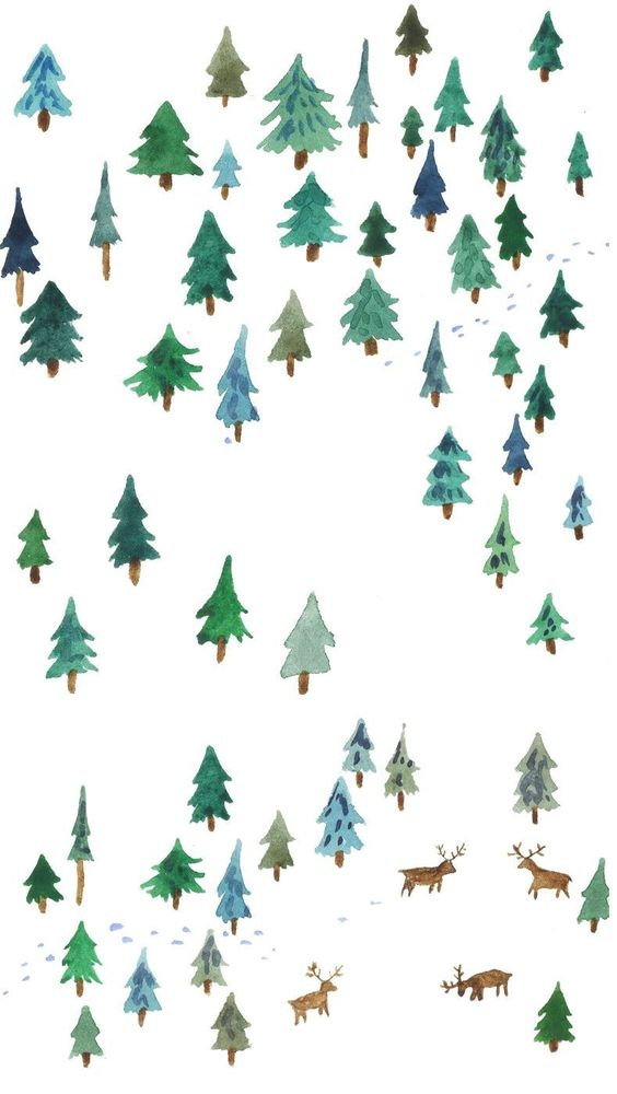 Jouluinen metsä | Christmas forest illustration