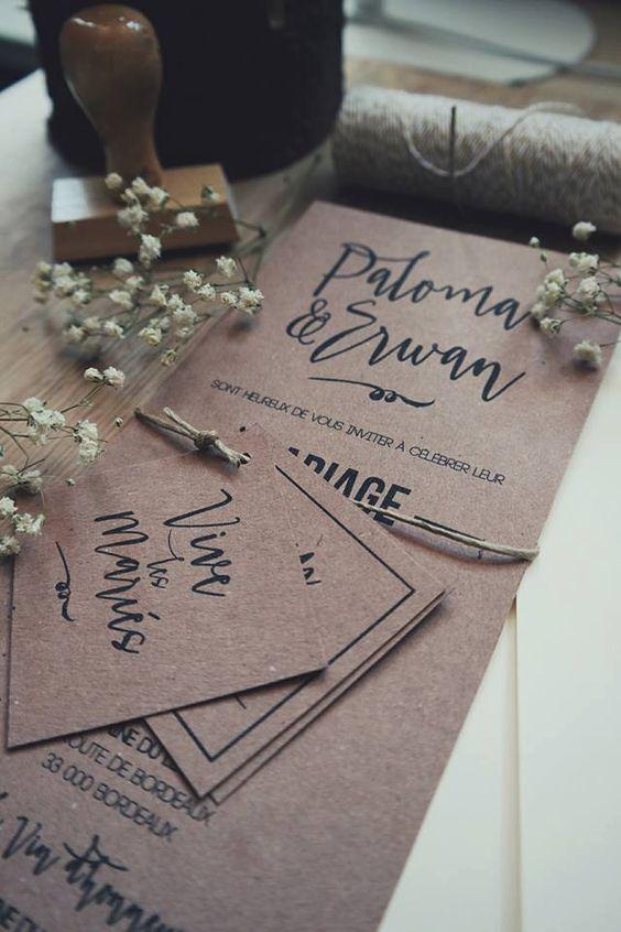 faire part mariage kraft 2 tiquettes enveloppe de la boutique lafabrique31 sur etsy - Faire Part Mariage Etsy