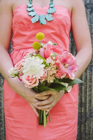 coral + yellow bouquet