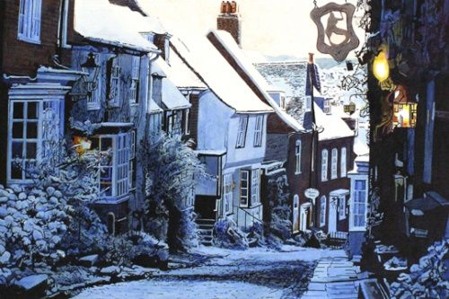 Painting of Mermaid Street, Rye, in the snow by Colin Bailey - love this place, amazing views, and it had some interesting shops last time we were there.