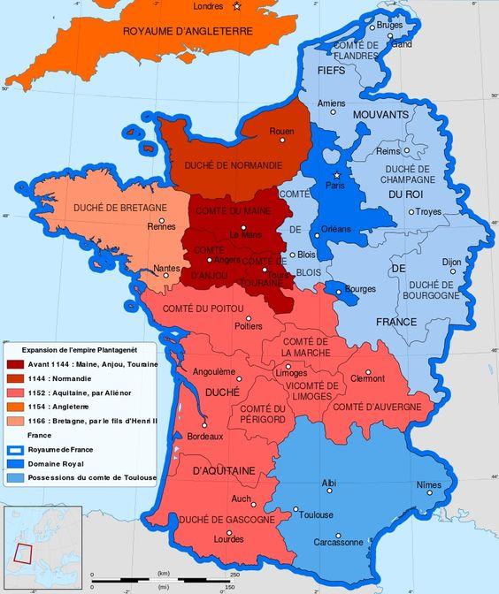 Carte de l'expansion de l'Empire Plantagenêt au XIIe siècle