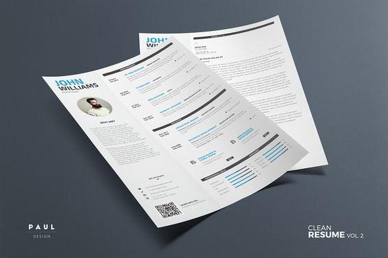 Clean Resume 7 - Word \ Indesign Resume Design Pinterest - resume folder