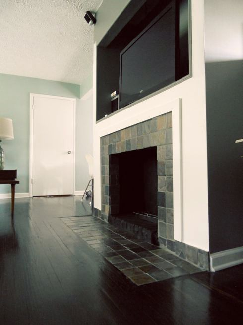 Fireplace makeover removing a brick hearth and retiling dream house - Tiling a brick fireplace ...