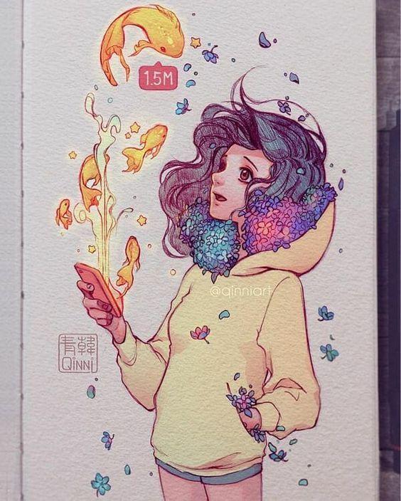 As Surpreendentes ilustrações em aquarela da artista Quinni - Arte no Papel Online