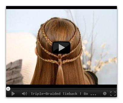 tutorial on how to make a triple-braided tieback hairstyle