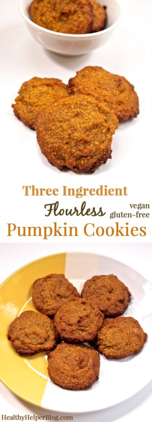 Three Ingredient Flourless Pumpkin Cookies via @healthy_helper  #vegan #glutenfree #grainfree
