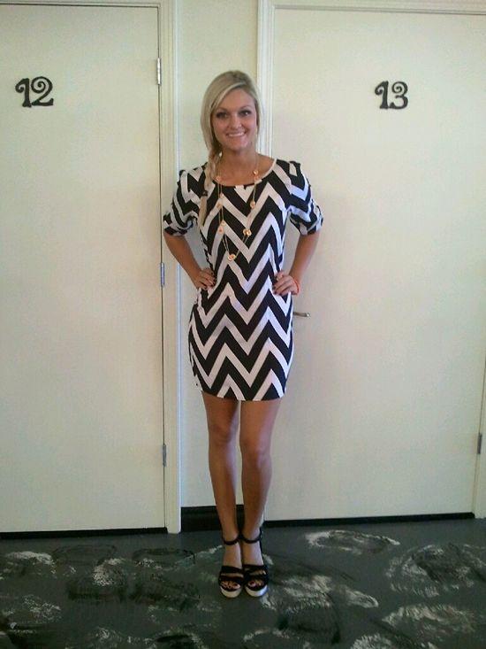 $50 Black and White 3/4 Sleeve Shift Dress